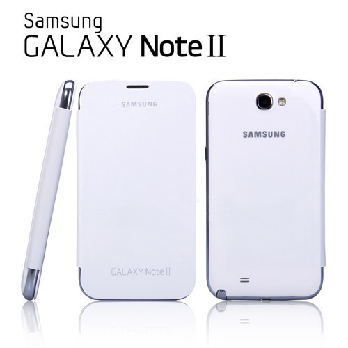 OEM Samsung Galaxy N7100 Note 2  Flip Cover Case + Screen Protectro White