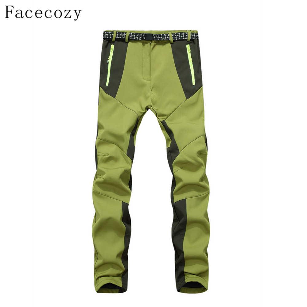 Facecozy 冬女性ハイキングパンツインナーベルフリースパッチワークデザインキャンプズボン屋外防風トレッキングパンツ