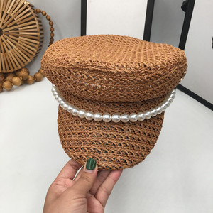 Image 3 - Pearl summer hat female new spring andstraw braided light breathable fashion casual sunscreen sunscreen cap tide