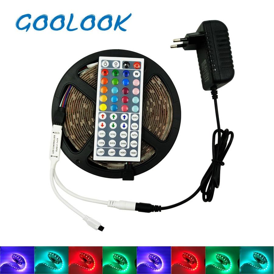 12 v LED 4 mt 5 mt 5050 RGB Band Nicht Wasserdicht 8 mt 10 mt LED Licht Band Flexible RGB diode LED Lampe band Fernbedienung + netzteil