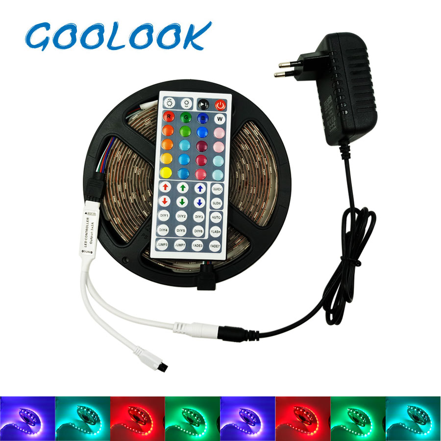 12V LED 4M 5M 5050 RGB Tape Non Waterproof 8M 10M LED Light Ribbon Flexible RGB diode LED Lamp tape Remote Control+Power supply 10m 5m 3528 5050 rgb led strip light non waterproof led light 10m flexible rgb diode led tape set remote control power adapter