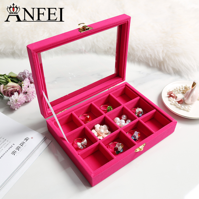ANFEI Velvet Jewelry Box Rings Earrings Necklaces Pendant Makeup Holder Case Organizer Women Jewelery Storage Jewelry Display