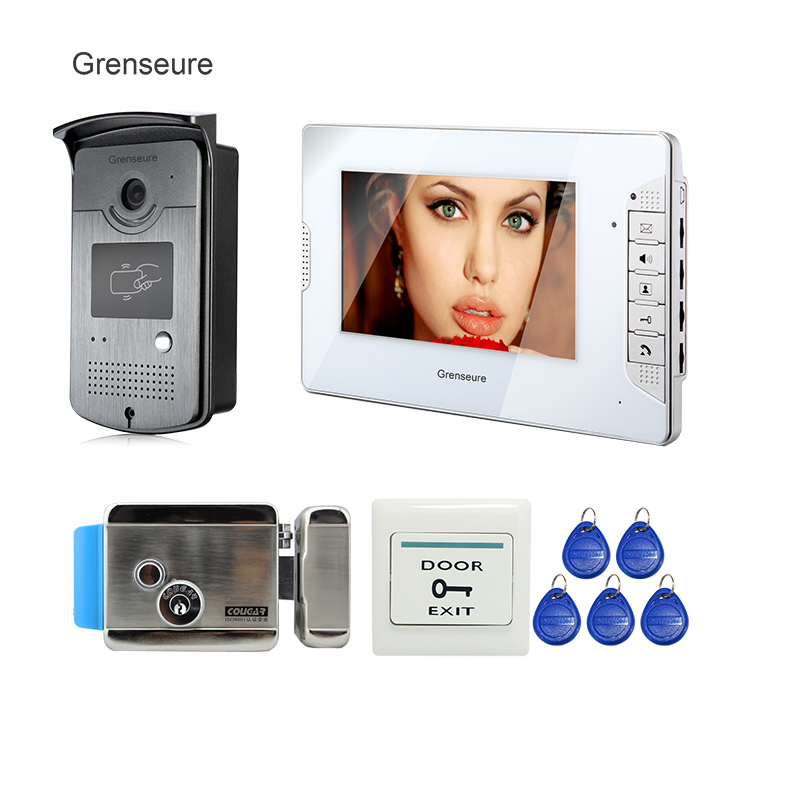 FREE SHIPPING 7 TFT Video Intercom Door Phone System + 1 White Monitor + 1 RFID Reader Camera + Electric Control Lock In Stock jeruan home 7 video door phone intercom system kit rfid waterproof touch key password keypad camera remote control in stock