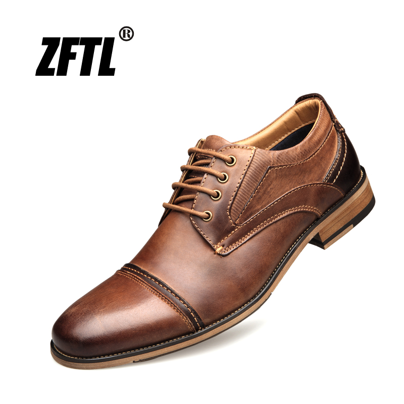 ZFTL New Men Dress shoes Genuine Leather big size Man Business shoes male wedding shoes Lace up casual Handmade men shoes 002