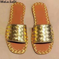 Fashion Woman Weave Slipper Black Gold Silver Cool Summer Women Beach Flat Slides Casual Slippers Sexy Open Toe Ladies Shoes