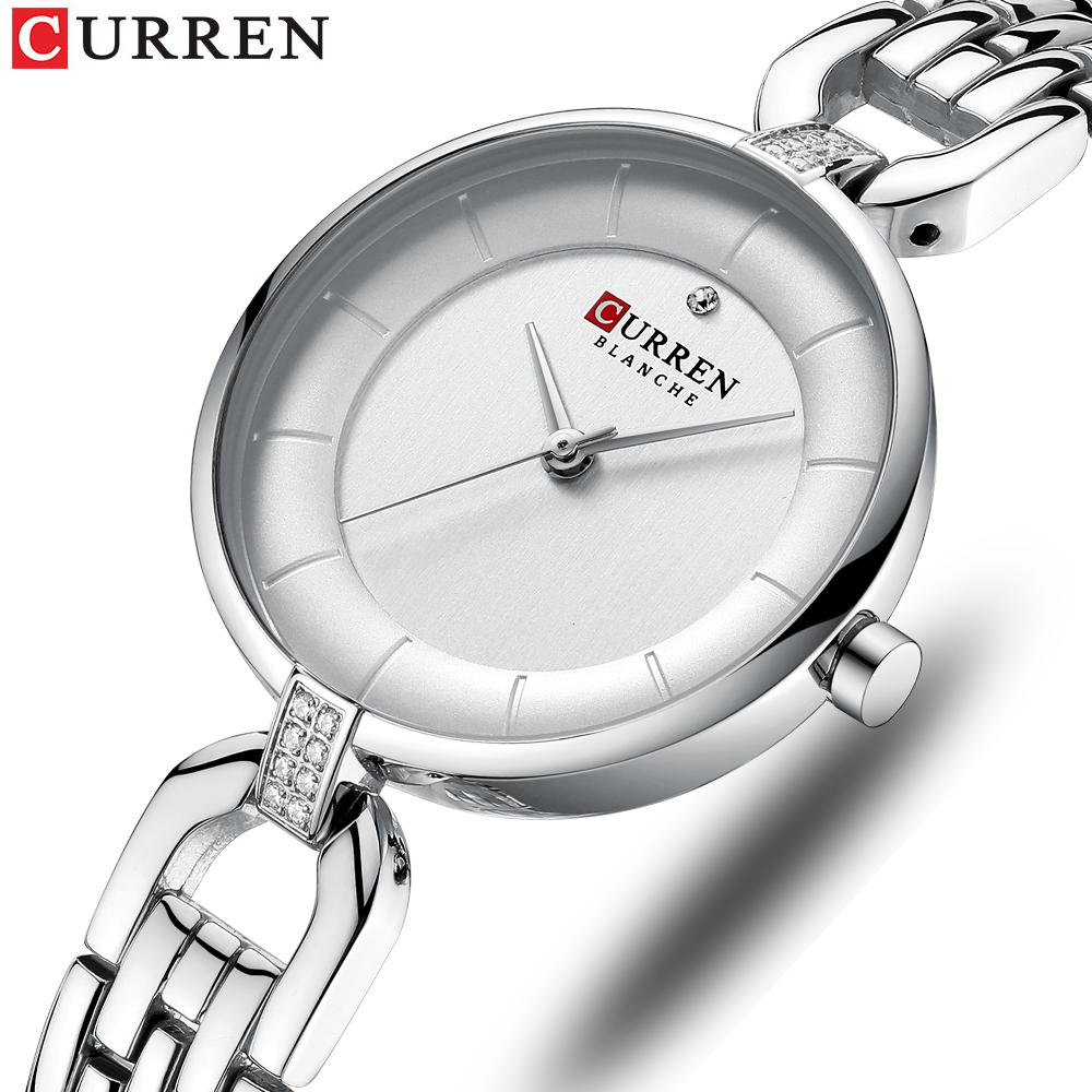 CURREN Ultra Thin Woman Watch 2019 Luxury Small Women Watch Silver Watereproof Sport Women's Watch With Metal Bracelet Clock(China)