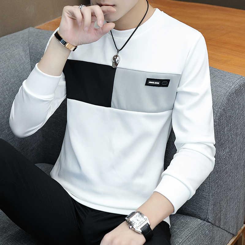 2020 yeni erkekler t gömlek casual uzun kollu erkek temel tees tops streç t shirt erkek giyim chemise homme
