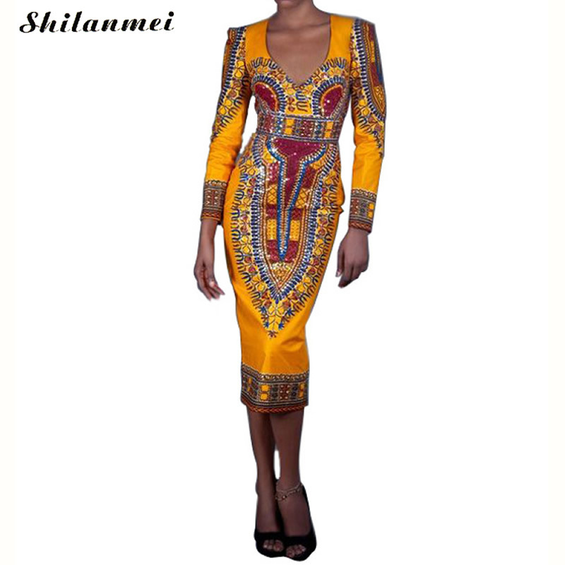 Buy Cheap yellow dress Tropical Print women femme 2017 summer spring long sleeve cut out backless dashki african midi casual robe vestidos