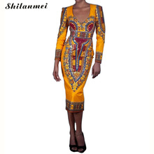 yellow dress Tropical Print women femme 2017 summer spring long sleeve cut out backless dashki african midi casual robe vestidos