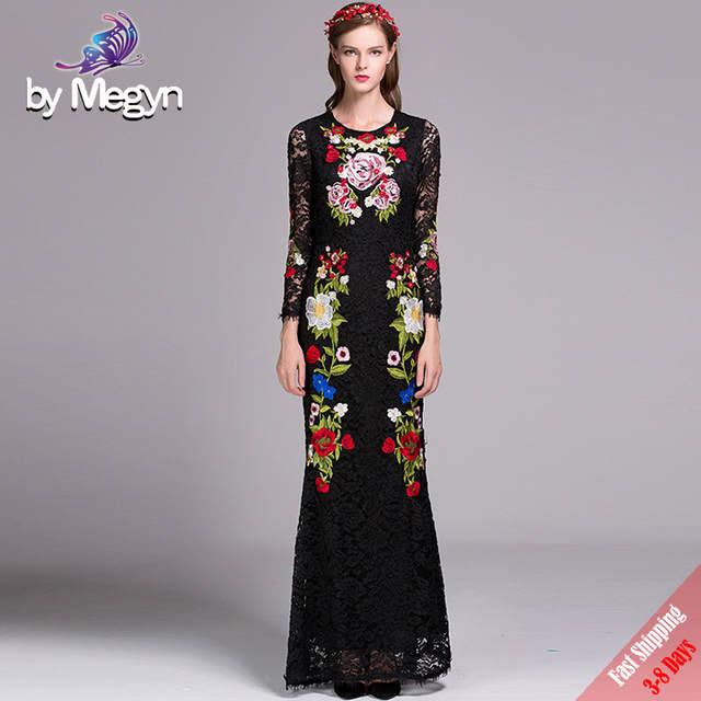 edce744832602 Online Shop High Quality Runway Designer Maxi Long Dress Women s vintage  Floral Emborided Long Sleeve Black Lace Sheath Long Dress Free DHL