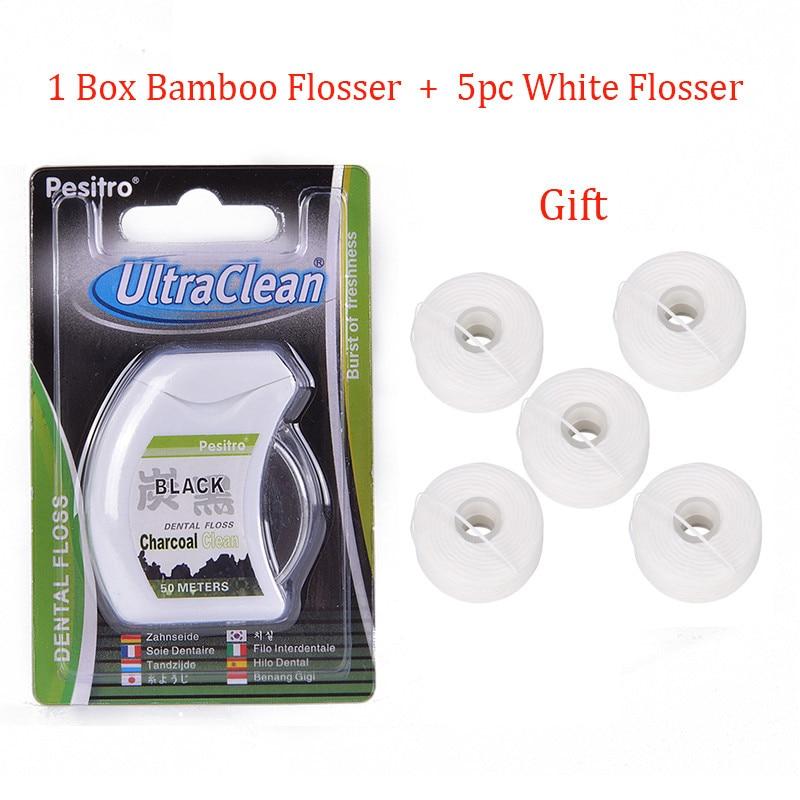 50 м+ 5X50 м бамбуковый уголь зубная нить зубы чистый стоматологический Стик для зубной нити зубочистка и зубная нить чистая нить
