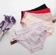 5 PACK 100% Pure Knit Silk Womens Lace Panties Briefs Underwear Lingerie M L XL SG004
