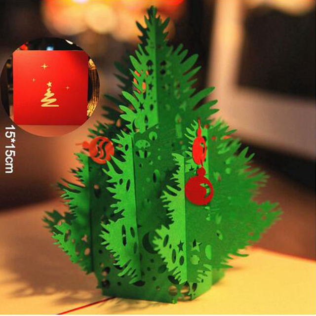 10pcs Red Merry Christmas Tree Greeting Cards 3d Laser Cut Pop Up