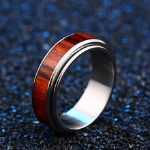 Steel Black Ring with Dark Red Wood (7 Different Rings)