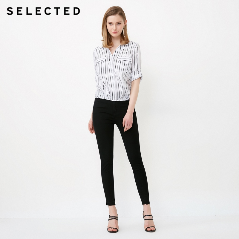 SELECTED Women's Roll-up Sleeves Striped Turn-down Collar Long-sleeved Shirt S|418205506 2