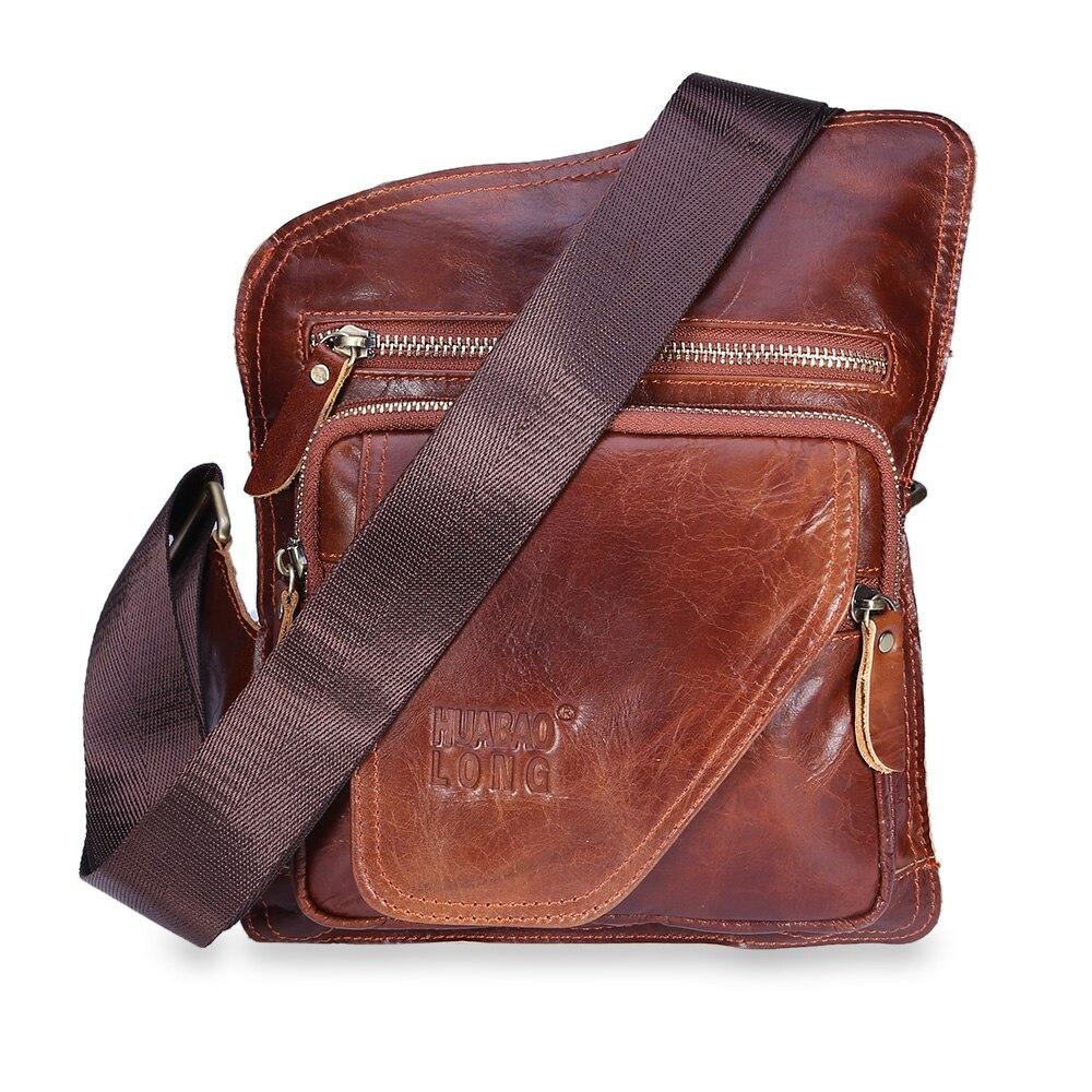 Men Shoulder Bags Designer Crossbody Natural Cowhide Shoulder Bags Vintage Small Square Handbag Business Travel IPad Bag
