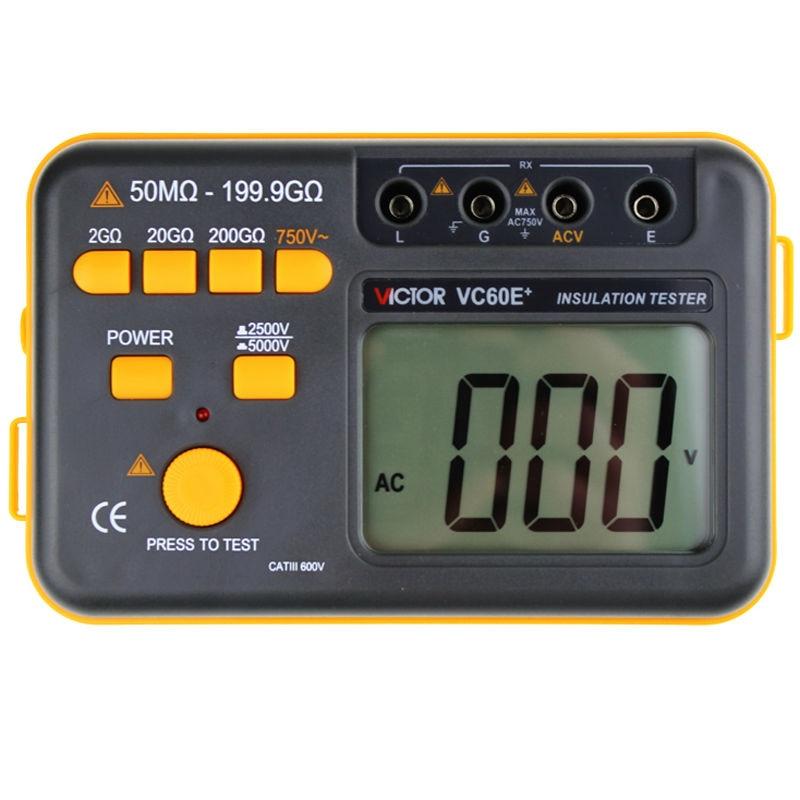 Victor VC60E+ Digital Insulation Resistance Tester Megger MegOhm Meter DC/AC 50M ohm-199.9G ohm Wholesale victor 6056d digital clamp meter