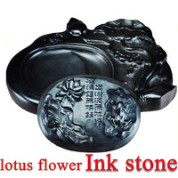 lotus flower Chinese ink stone for Art Painting Calligraphy Supply Stationary Four treasures of study