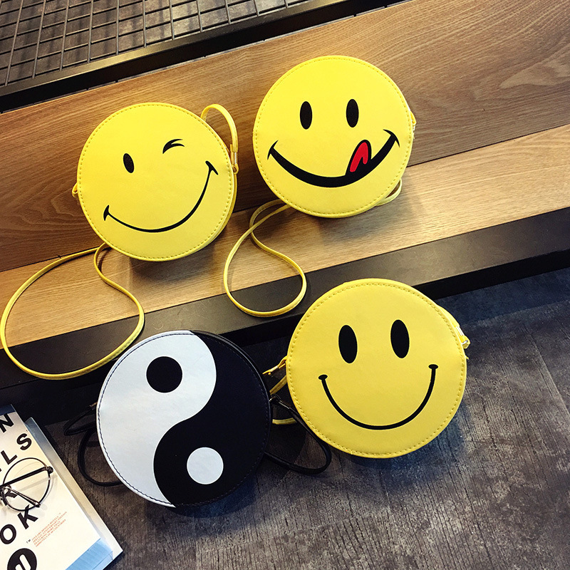 New Summer New Leather Women Shoulder Bags Face Smiley Emoji Cute Handbags Korean Style Round Crossbody Bags for Girls Yellow cute smiley face style couple lovers keychain yellow white silver 2 pcs