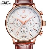 Watches Men Luxury Brand GUANQIN Sport Watches Fashion wristwatch Chronograph waterproof 50M Genuine leather Quartz Men watches