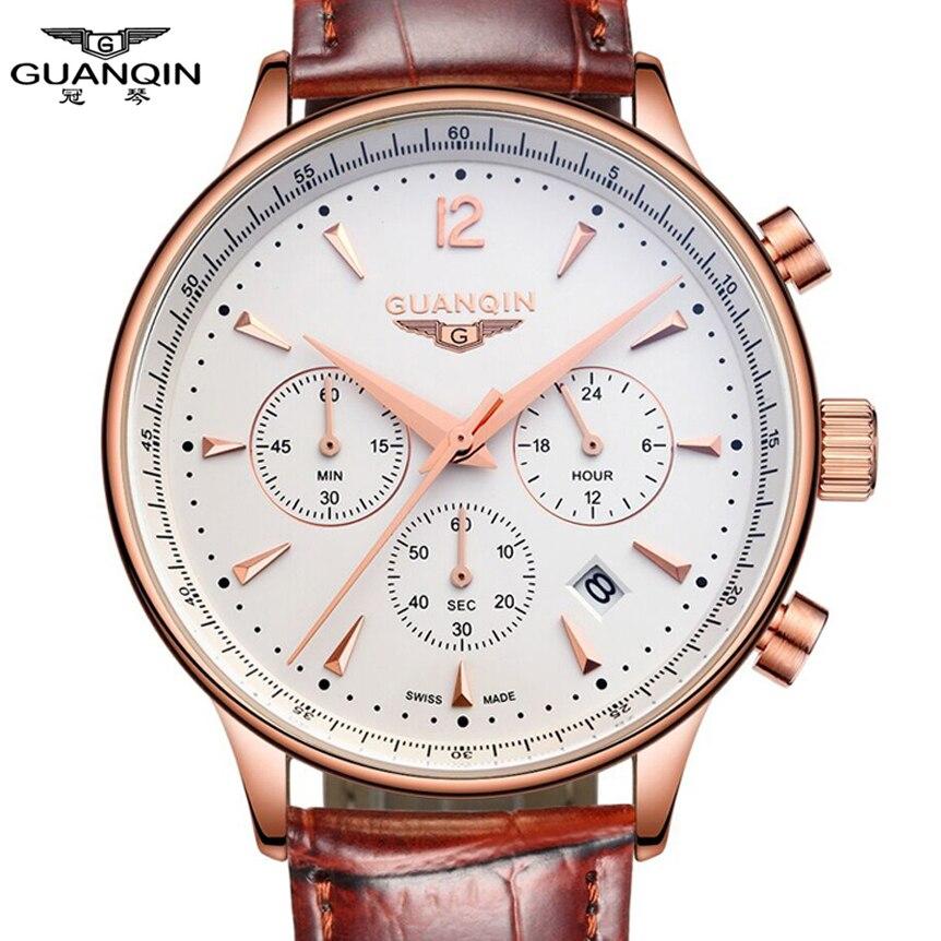 Montres Hommes Marque De Luxe GUANQIN Sport Montres Mode montre-bracelet Chronographe étanche 50 m Véritable en cuir Quartz Hommes montres