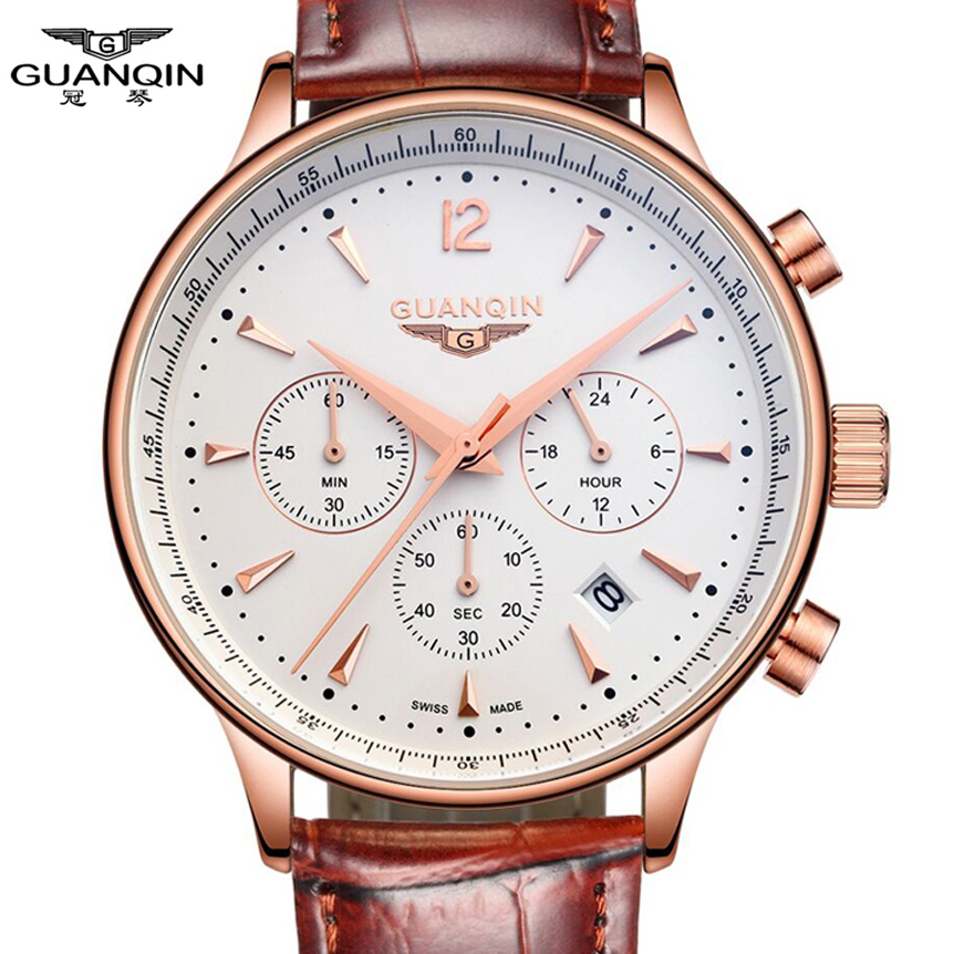 Watches Men Luxury Brand GUANQIN Sport Watches Fashion wristwatch Chronograph waterproof 50M Genuine leather Quartz Men watches