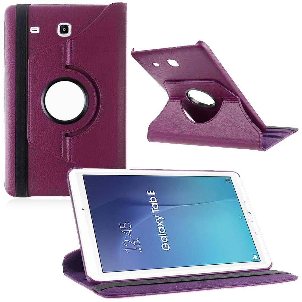 360 Rotating PU Leathers Smart Case for 9.6 Samsung Galaxy Tab E T560 Purple