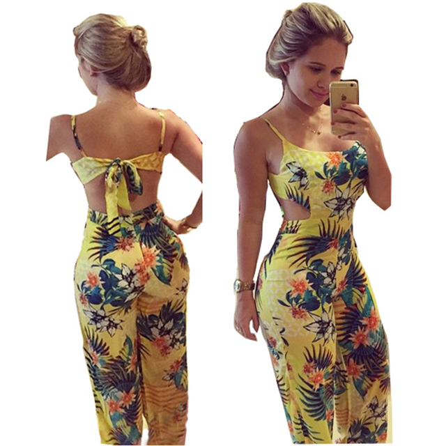5d1197a0319 2015 New Summer Rompers Womens Jumpsuit Strappy Halter Playsuit Sexy Yellow  Floral Print Backless Long Pants Wide Leg Jumpsuit
