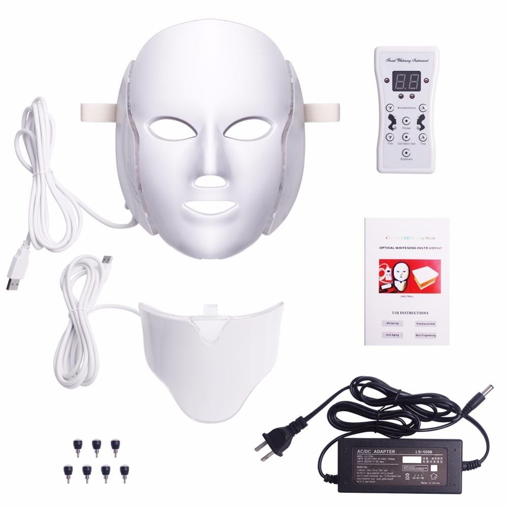 7 Colors Light LED Facial Mask With Neck Skin Rejuvenation Face Care Treatment Beauty Anti Acne