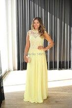 2015 neue High Neck A Linie Gelb Chiffon lange prom Kleider Appliques Perlen formale Cocktailkleid
