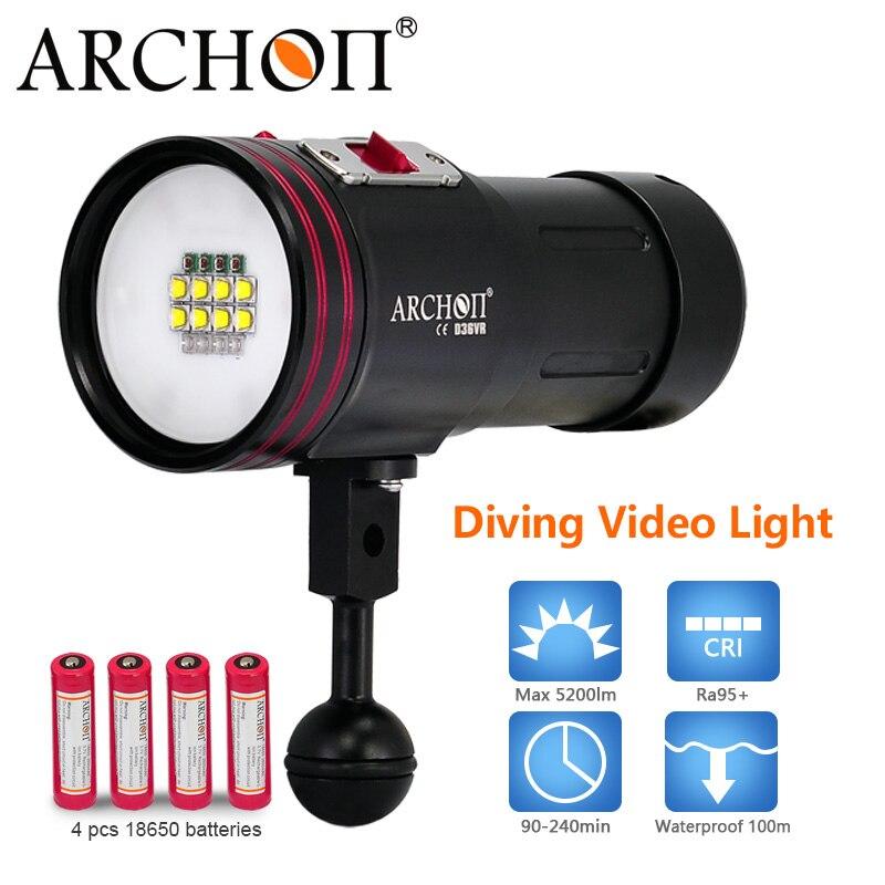 100% Original ARCHON D36VR CREE XM-L U2 + UV Multifunction Underwater Photographing Diving Light Video