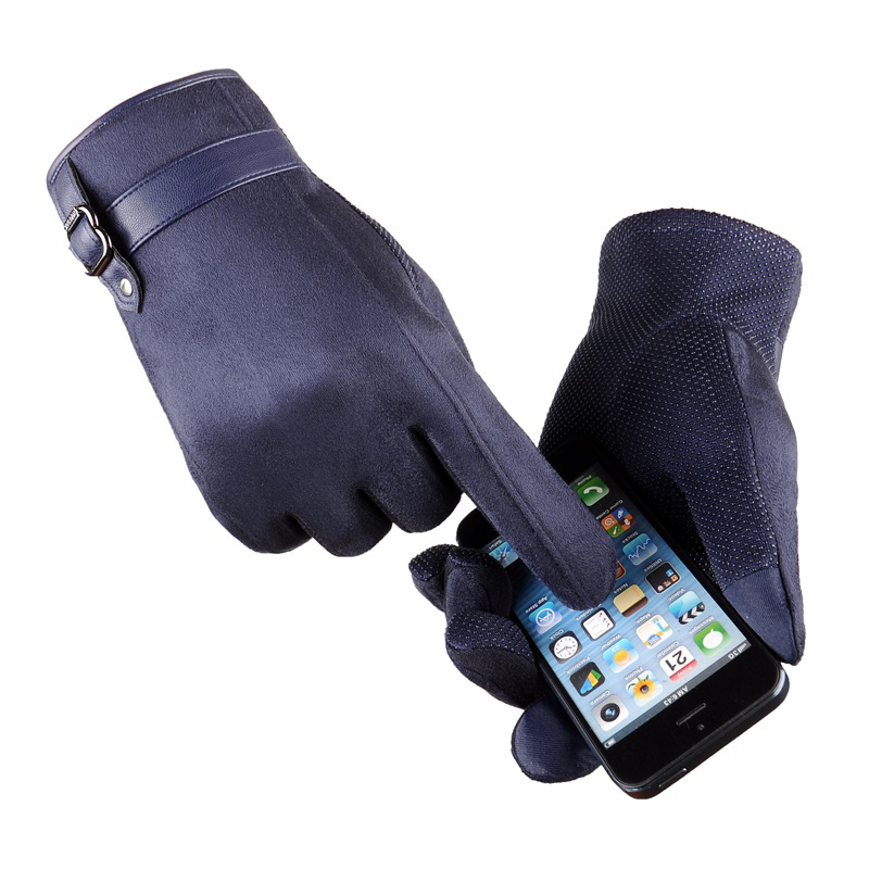 Winter Suede Leather Gloves Men Thick Soft Cashmere Touchscreen Glove Spring Anti Slip Windproof Ski Driving Outdoor Gloves