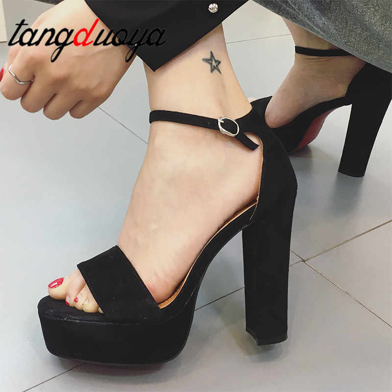 Sexy Square Women High Heels Lady shoes Waterproof Platform Open Toe Buckle Women Sandals high heels summer sandals party