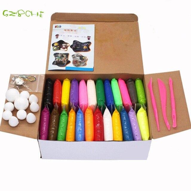 NUEVA 24 colores Super light arcilla de secado al Aire Soft Polymer Modela la Arcilla con la herramienta de juguetes Educativos Plastilina BRICOLAJE Especial limo juguetes