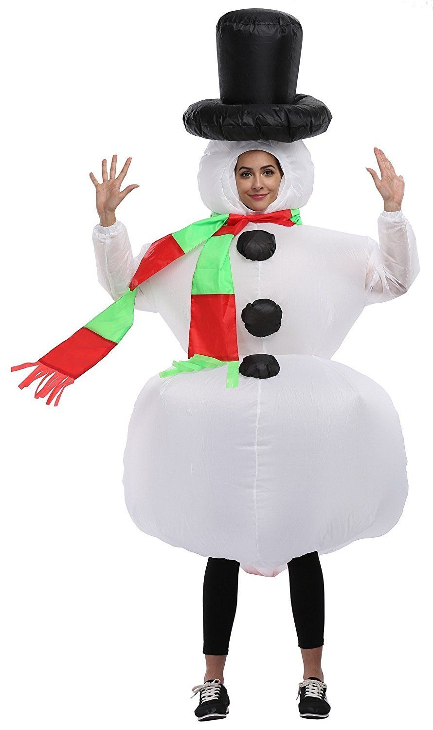 AnyCos Inflatable White Snowman Costume Suit Cosplay Adult Costume Blowup Fancy Halloween Party Dress