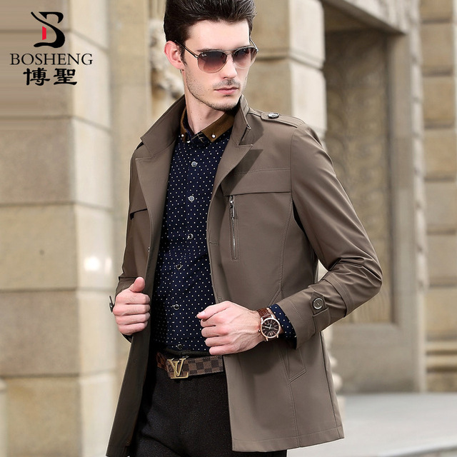 European style spring and autumn stand collar thin long design single breasted business men tench coat plus size M - 7XL