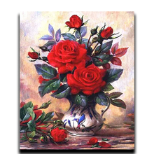 Painting Diamond cross stitch flower Round \ square mosaic Rhinestone picture Full Embroidery Ornaments Red rose