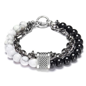 LKO New arrive Stainless steel Men tiger eyes Black Mantra Prayer Beads Buddha Bracelet