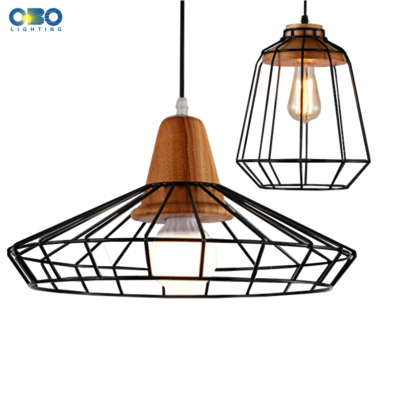 Vintage Pendant Lights Iron Frame Lampshade Bar/Shop Indoor Lighting Wood Pendant Lamp Cord Lenght 1.2M  E27 110-240V led lamp creative lights fabric lampshade painting chandelier iron vintage chandeliers american style indoor lighting fixture