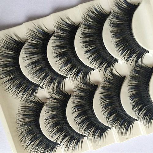 5 Pairs Blue+Black Long Thick Cross False Eyelashes Handmade Eye Lashes Makeup