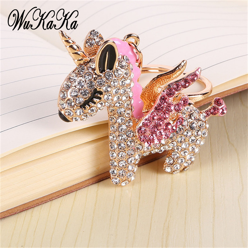 2019 Fashion Full Crystal Rhinestone Unicorn Keychain Car Keyrings Women's Bags Decoration Accessories Horse Pendants Jewelry