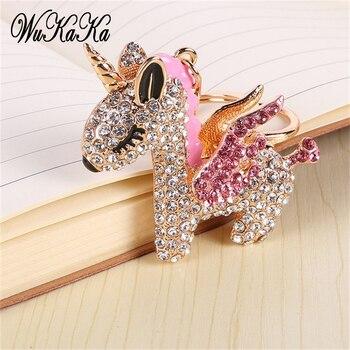 7011d2bab663 LLavero de unicornio de diamantes de imitación de cristal completo de moda  2019