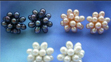 wyan hot sell new - 13377 Wholesale RICE FRESHWATER PEARL FLOWER STUD EARRING 3(China)
