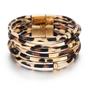 AENSOA Handmade PU Leather Magnet Buckle Bracelet For Women Fashion Leopard Bracelets & Bangles Multilayer Wrap Wide Bracelets