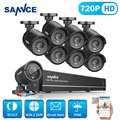 SANNCE HD 8CH 720P CCTV Security System 8PCS 1250TVL AHD 720P Video Surveillance Security Cameras DVR Kit no 1TB HDD