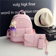 2017 New  Women Fashion Backpack Casual PU Leather School Bags For Teenagers Girls College Little bear pendant shoulder bag
