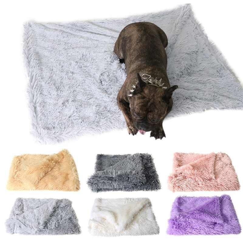 Домашние животные лежанки для собак теплый пушистый спальный двухслойный коврик для маленьких средних больших собак мягкое бархатное одеяло