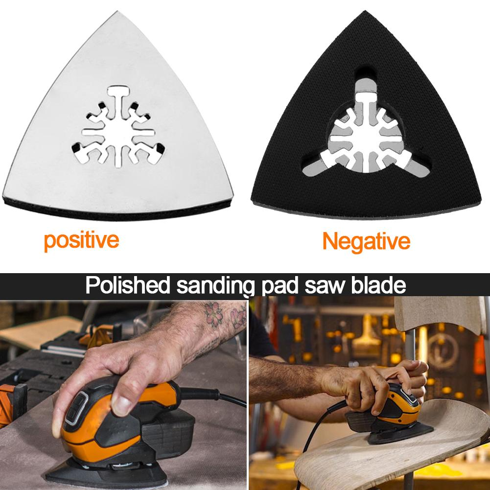 Image 5 - 1PC 80mm Stainless Steel Triangle Sand Tray Shaped Polishing Waste Sanding Pad Saw Blade-in Abrasive Tools from Tools