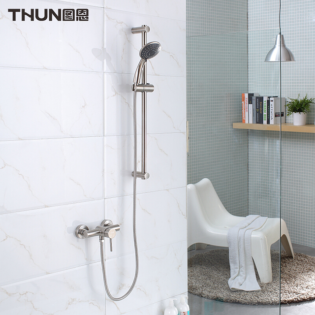 THUN Wall Mounted Bathroom Faucet Bath Tub Mixer Tap With Hand Shower Head  304 Stainless Steel