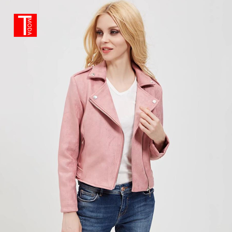 2018 New Arrial Women Autumn Winter   Suede   Faux   Leather   Jackets Lady Fashion Matte Motorcycle Coat Biker Pink Zipper Outerwear